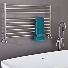 Buy the Phoenix Zonta Horizontal Bathroom Stainless Steel Designer Heated Towel Rail Radiator online today from Only Radiators at this great price and receive top Customer Care and Free UK Delivery! Stainless Steel Towel Rail, Stainless Steel Radiators, Stainless Steel Pipe, Bathroom Towel Radiators, Bathroom Towel Rails, Warm Bathroom, Bathroom Ideas, Family Bathroom, Bathroom Renovations