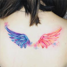 watercolor tattoo, back tattoo, angel wings tattoo, blue and purple wing, orange and pink wing Wing Neck Tattoo, Wing Tattoos On Back, Back Tattoo, Tattoo Wings, Angel Wing Tattoos, Angel Wings Tattoo On Back, Demon Tattoo, Mini Tattoos, Body Art Tattoos