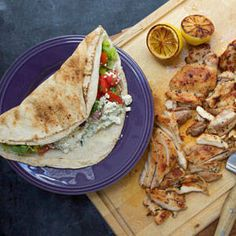 Recipes | Rachael Ray Show Chicken Pitas with Greek Salsa and Zucchini Tzatziki