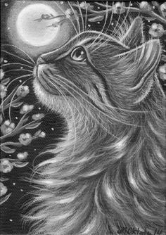 Brown Tabby Longhair Maine Coon Cat Portrait Original Art Painting MARTA