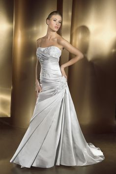 Well Received Strapless Embroider Beading Satin Chapel Train Wedding Frock  Silver Wedding Gowns bfbd0acda06f