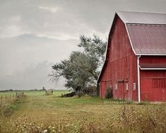 Red Barn Landscape Photography, country home decor, old farm photo, fall, rustic, storm photography,