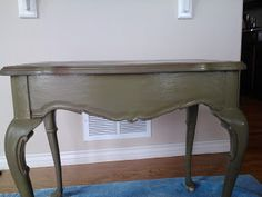This little table started out as a pickled finish. Painted with Annie Sloan Chalk Paint Primer Red and topped with Olive.