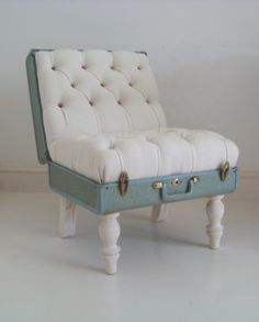 Suitcase Chair - by REcreate (SA designer Katie Thompson). Using pieces of discarded junk, Katie recreates a unique, recycled range of furniture, lighting and interior accessories, each piece infused with its own previous character but with a new function...