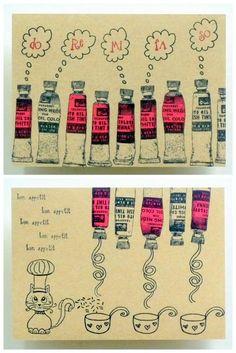 Whimsical Stamper, Happy Emilia: dd Paint tube印章 + obp 印章 + 棉絲紙 (淺牛皮色)