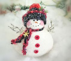Your place to buy and sell all things handmade Cute Snowman, Snowman Ornaments, Christmas Snowman, Handmade Christmas, Christmas Holidays, Christmas Ornaments, Snow Men, Pink Cheeks, Make Happy