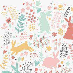 Lovely rabbits in hearts and flowers. Cute childish seamless pattern in cartoon style. Seamless pattern can be used for wallpapers, pattern fills, web page backgrounds, surface textures Wall Wallpaper, Pattern Wallpaper, Iphone Wallpaper, Surface Pattern Design, Pattern Art, Baby Room Set, Felt Hair Accessories, April Easter, Easter Backgrounds