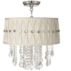 "Nicolli Clear 16"" Wide Pinch Pleat Crystal Ceiling Light"