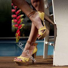 Shoespie Yellow Purfle Platform Sandals