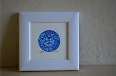 Bee Linocut, blue by hectorandhaddock | Hector and Haddock