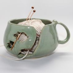 Yarn Bowl in Soft Spring Green by MountainMudBabies on Etsy, $40.00