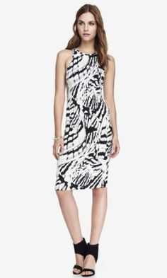 ABSTRACT PRINT STRETCH MIDI SHEATH DRESS from EXPRESS