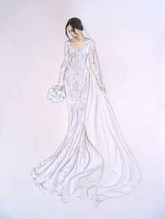 Custom Bridal Illustrations of the bride, a beautiful and unique way to remember that special day. Personalised Illustration of the bride in