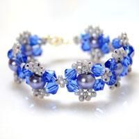 How to Make Beautiful Blue Pearl & Crystal bracelet.  Easy & Fast from Panda Hall.  #Seed #Bead #Tutorials