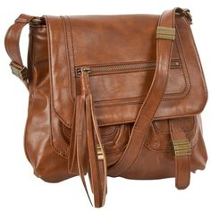 Tan across the shoulder womens messenger bag (34 NZD) found on Polyvore