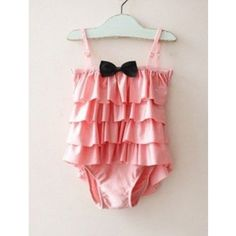 Vintage Inspired Baby & Children's Clothes Vindie Baby Pink Swimsuit Vintage One Piece Swimsuit Bathing Suit Yellow Bowtie