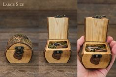 handmade ring box perfect for forest wedding, engagement, to hold special gift, or for child's tooth fairy box. These log ring boxes are cut from a single branch of sustainably sourced timber…More Wooden Ring Box, Wooden Jewelry Boxes, Wooden Boxes, Wood Projects, Woodworking Projects, Green Woodworking, Tooth Fairy Box, Bandsaw Box, Wood Logs