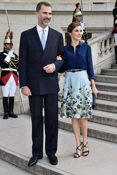 King Felipe and Queen Letizia of Spain, President Hollande attended the Velasquez painting exhibition at the Grand Palais on June 2, 2015 in Paris, France. (King and Queen are on a three-day visit in France. Originally scheduled for March 24, this visit had to be suspended after Germanwings flight 9525 crashed in the French Alps)
