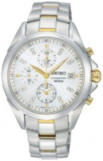 Seiko Quartz White Dial Stainless Steel Case With Gold And Stainless Steel Bracelet Watch #SNDY33P1 (Women Watch)