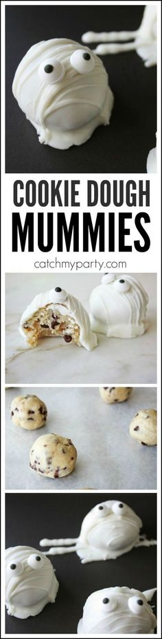 Try these cookie dough cake ball mummies for Halloween. There's no baking involved and the cookie dough is safe to eat! Try them at your Halloween party! For more Halloween party ideas check out CatchMyParty.com.
