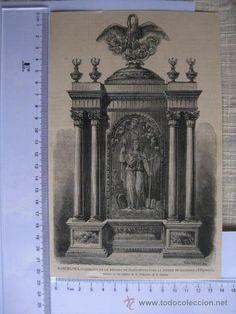 BARCELONA. SAGRARIO DE UN RETABLO, IGLESIA DE BALINAUG(FILIPINAS). GRABADO FINALES 1800. - Foto 1