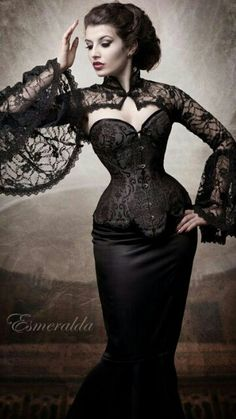 Black Lace sleeves on Corset style outfit ★★★
