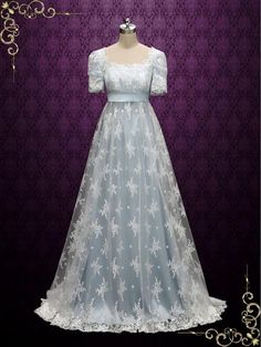 Beautiful lace overlay wedding dress inspired by the regency era. Can also be used as a formal dress for regency ball or special occasion. Photoed in powder blue, other colors can also be made. Working Time:  8-10 weeks Rush Order please inquire prior to order.   Custom Designs We specialize in custom design services.I