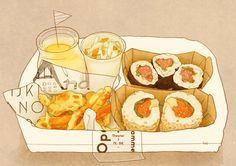 Gourmet sushi hand-painted cartoon illustrations
