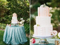 pink ruffle wedding cake on a sequin tablecloth