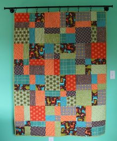boy quilt for toddler bed or throw // by olivetreetextiles