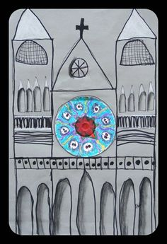 Gothic architecture with rose window made from a CD coloured with Sharpies