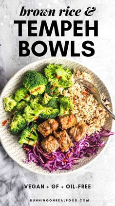 These brown rice and baked tempeh bowls with cabbage and broccoli make a delicious filling high-protein vegan meal. This recipe works well for vegan meal prep is gluten-free and can be customized as needed by adding additional veggies or legumes. High Protein Vegetarian Recipes, Vegan Meal Prep, Veggie Recipes, Real Food Recipes, Healthy Recipes, Vegan Protein, Protein Cake, Protein Muffins, Protein Cookies
