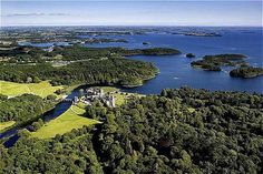"""Ashford Castle near Cong, County Mayo, Ireland. """"The 1952 film The Quiet Man was filmed on location at Ashford, featuring many parts of the castle and the neighboring town of Cong."""""""