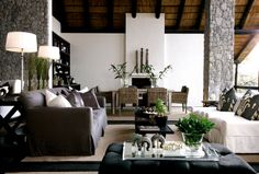 Londolozi Lodge, S Africa -- love the pillows on the white slip-covered sofa -- very dramatic. Wonder if pillows could be duplicated using  bleach pens as in the tutorial for T-shirts on the fashion board. Or maybe better yet, paint the black sections on white or neutral color fabric. Thoughts?