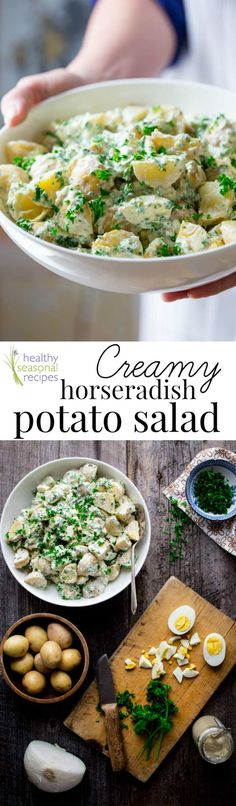 Healthy Creamy Horseradish Potato Salad. It is naturally gluten-free, vegetarian and it can be made ahead for your next barbecue or potluck. Healthy Seasonal Recipes   @healthyseasonal