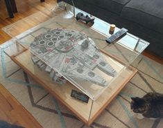 Billedresultat for millennium falcon vitrine Lego Ucs, Lego Display Case, Toy Display, Display Ideas, Star Wars Room, Star Wars Decor, Millennium Falcon, Lego Vitrine, Lego Star Wars