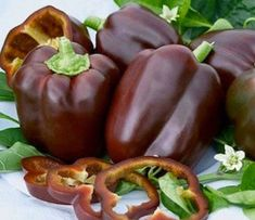 These two delicious medium-large bell pepper are fresh live plants that are 4 to 7 inches tall. They ripen from green to a rich chocolate-brown. Perfect addition to salads but also great in shishkabobs and freezes well. They are low maintenance .With full sun and moist soil and they are good to go.