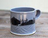Ceramic coffee mug , Gray Coffee Cup , Large Coffee Mug , Woodland Print Cup, coffee lovers gift