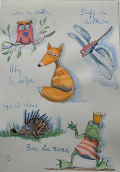 Gli animali del bosco illustrazione originale di LabLiu su Etsy, €25.00