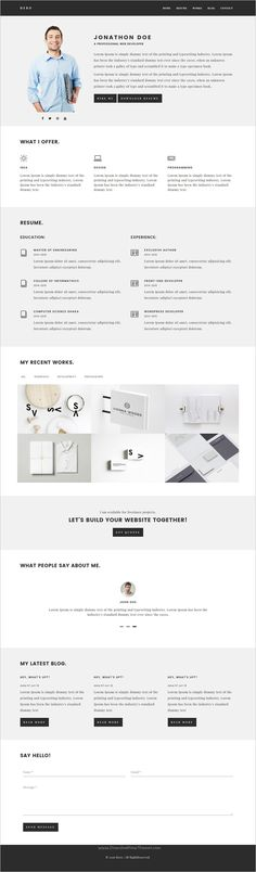 Devin Responsive Personal Portfolio Theme Modern, Resume and - resume website design