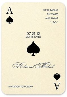 This fun casino themed save the date card is printed on ivory shimmer card stock. The Ace motifs will be printed in the ink color chosen for your text. * Click the image for more details Casino Wedding, Wedding Party Invites, Las Vegas Weddings, Casino Party, Casino Theme, Party Invitations, Wedding Vows, Wedding Cards, Destination Wedding