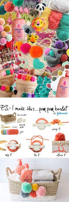 P.S.-I made this… Pom Pom Basket with @JohnsonsBaby #DIY #psimadethis #JohnsonsBaby @Target #ad