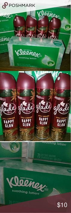NEW Household Mix Kleenex & Glade Air Freshener NEW Household Mix Kleenex & Glade Air Freshener Get Everything Pictured Includes.. FIVE Boxes Of Kleenex Soothing Lotion Tissues 70 Count Each Box.. FOUR Glade Apple Cinnamon Happy Glow Air Freshener 8oz EACH Other