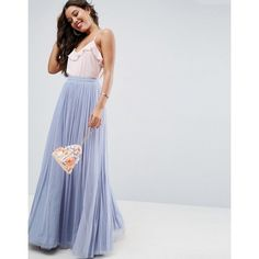 ASOS Tulle Maxi Prom Skirt ($92) ❤ liked on Polyvore featuring skirts, blue, floor length maxi skirt, high-waisted maxi skirt, maxi skirts, high-waist skirt and high waisted maxi skirt