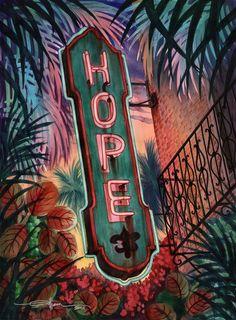 vintage neon sign art, Alison Studios, Fine Art, Original Watercolor Paintings, Vintage Neon Sign Paintings Virtue Series