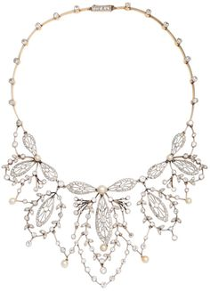 Antique diamond, pearl, platinum and gold necklace. France, 1920's. Via Diamonds in the Library.