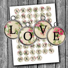Alphabet Digital Collage Sheet 1 inch 25mm 20mm by MobyCatGraphics Glass Pendant Images, Bottle cap images
