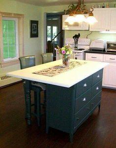 Îlot de cuisine fait a partir d un vieux meuble