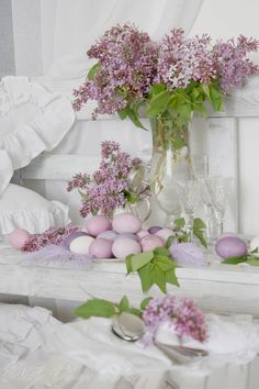 Lilacs with eggs