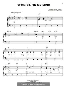 Georgia on My Mind, for Piano: Easy version by Hoagy Carmichael Hoagy Carmichael, Georgia On My Mind, Piano Sheet Music, Song Lyrics, Atlanta, Give It To Me, Mindfulness, Songs, Life